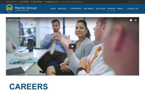 Screenshot of Jobs Page menlocre.com - CAREERS - The Menlo Group Commercial Real Estate, LLC - captured Oct. 17, 2018