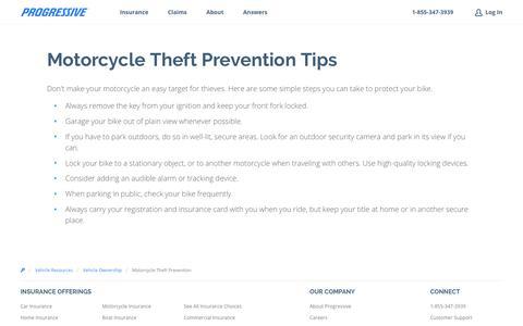 Motorcycle Theft Prevention: Avoid Motorcycle Theft - Progressive