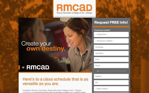 Screenshot of Landing Page rmcad.edu - RMCAD - Blend your course load. - captured Oct. 27, 2014
