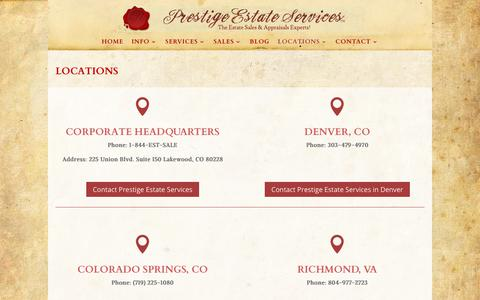 Screenshot of Locations Page prestigeestateservices.com - Locations - Prestige Estate Services - captured Sept. 29, 2018