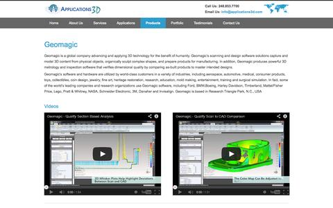Screenshot of Products Page applications3d.com - 3D Point Cloud Processing Geomagic – Applications 3d - captured Sept. 30, 2014
