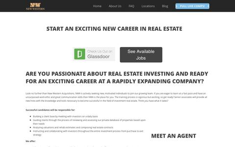 Screenshot of Jobs Page newwestern.com - Real Estate Careers - Now Hiring - captured Sept. 24, 2016