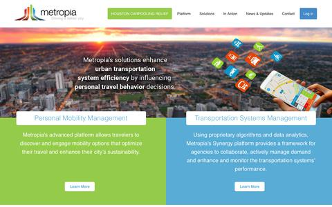 Screenshot of Home Page metropia.com - Metropia - Driving a Better City | Metropia - Driving a Better City - captured Oct. 18, 2017