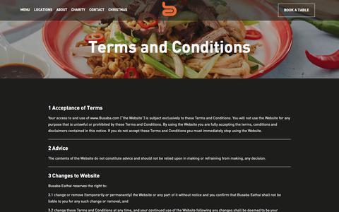 Screenshot of Terms Page busaba.com - Terms and Conditions | Busaba Bangkok Thai - captured Sept. 25, 2018