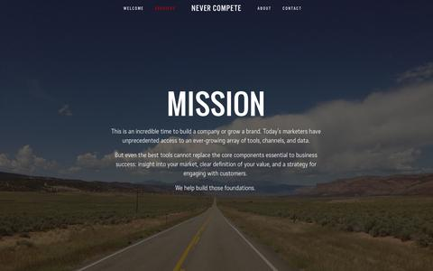 Screenshot of Services Page nevercompete.com - Services — Never Compete - captured Oct. 1, 2014