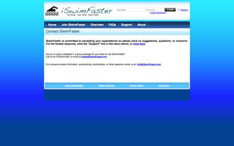 Screenshot of Contact Page iswimfaster.com - iSwimFaster - Overview Information - captured Oct. 6, 2014