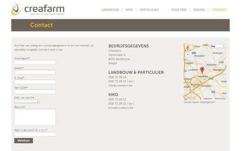 Screenshot of Contact Page creafarm.be - Contact - Creafarm - captured Oct. 3, 2014