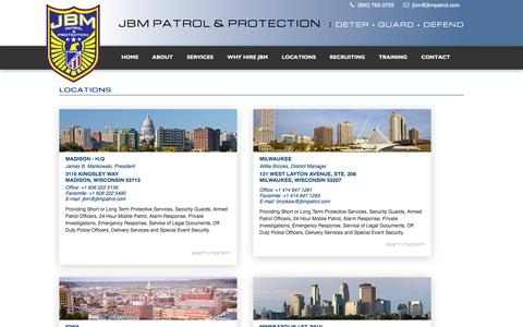 Screenshot of Contact Page Locations Page jbmpatrol.com - JBM Patrol & Protection | Madison, Milwaukee, Twin Cities | Midwest Security Guards -             JBM Patrol - captured Feb. 2, 2016