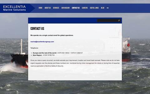 Screenshot of Contact Page excellentia-egroup.com - Contact Us : Excellentia Marine Solutions - captured Jan. 31, 2016