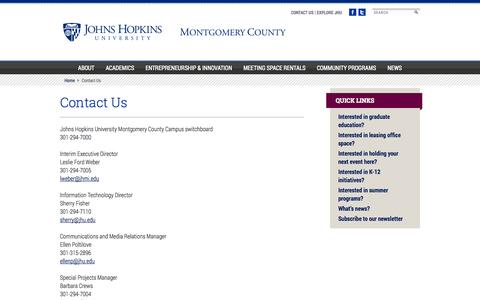 Screenshot of Contact Page jhu.edu - Contact Us - Johns Hopkins University Montgomery County Campus - captured Sept. 16, 2014