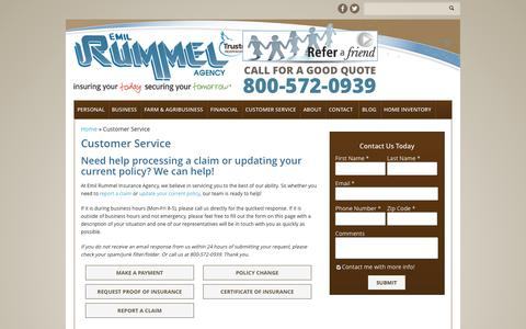Screenshot of Support Page rummelinsurance.com - Customer Service   Emil Rummel Insurance Agency - captured Oct. 2, 2014