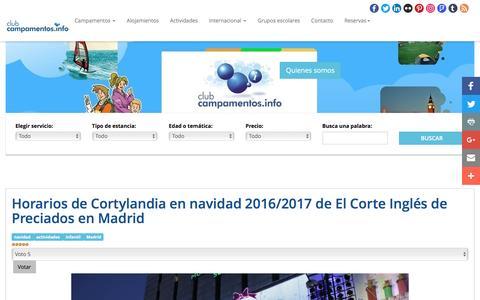 Screenshot of campamentos.info - Horarios de Cortylandia en navidad 2016/2017 de El Corte Inglés de Preciados en Madrid - captured Dec. 9, 2016