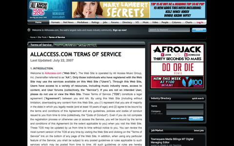 Screenshot of Terms Page allaccess.com - All Access Music Group, Inc. Terms Of Service for our Free Radio News Website - captured Sept. 18, 2014