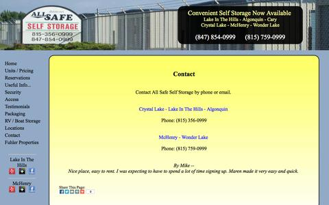 Screenshot of Contact Page allsafeinfo.com - Contact - captured Oct. 4, 2014