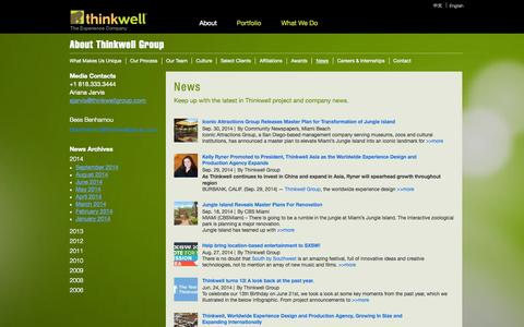 Screenshot of Press Page thinkwellgroup.com - News Archive - Thinkwell Group, Inc. - captured Sept. 30, 2014