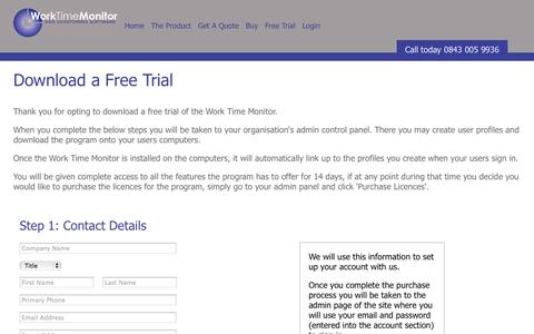 Screenshot of Trial Page worktimemonitor.com - Buy Work Time Monitor - captured Oct. 9, 2014