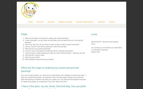 Screenshot of FAQ Page thecanvasdog.com - Painting Pet Portraits FAQs - The Canvas DogThe Canvas Dog - captured Oct. 26, 2014