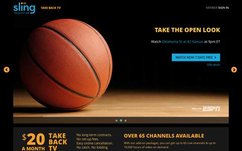 Screenshot of Home Page sling.com - Sling TV - Watch Live TV Programming Any Time and Anywhere - captured Feb. 16, 2016