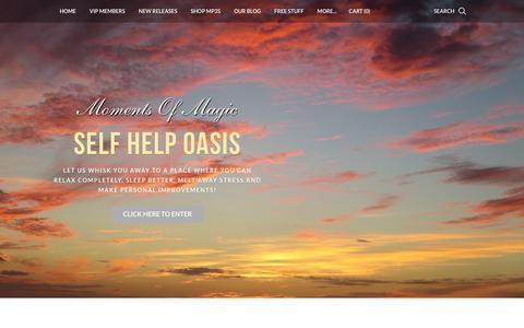 Screenshot of Home Page momentsofmagic.com - Moments Of Magic Self Help Oasis - Guided Meditations, Hypnosis and NLP - Moments Of Magic Self Help Oasis Guided Meditations - captured March 15, 2016