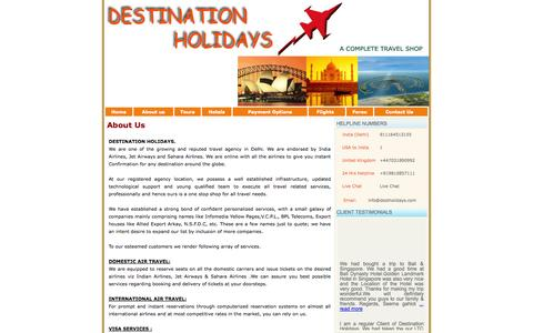 Screenshot of About Page destinationholidays.in - Travel Tour Agency Operator Delhi India - captured Oct. 27, 2014