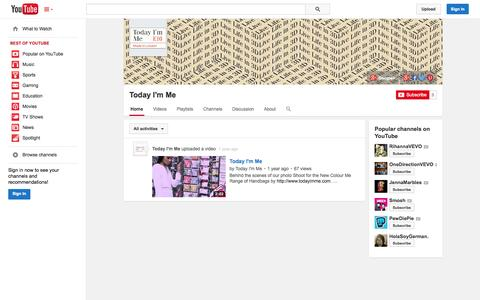 Screenshot of YouTube Page youtube.com - Today I'm Me  - YouTube - captured Oct. 29, 2014