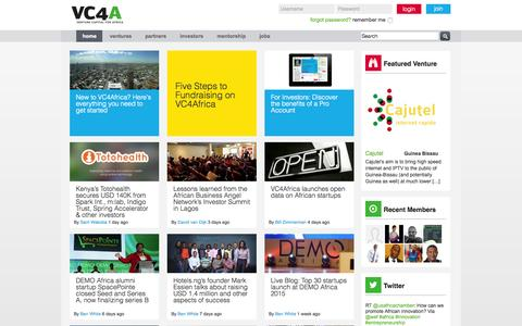Screenshot of Home Page vc4africa.biz - African Venture Finance Starts Here | VC4Africa - captured Oct. 1, 2015