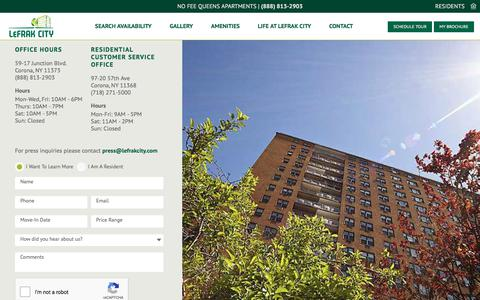 Screenshot of Contact Page lefrakcity.com - Contact the LeFrak City Rental Office - captured July 17, 2018
