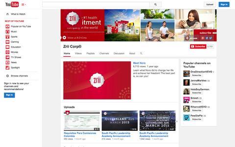 Screenshot of YouTube Page youtube.com - Zrii Corp®  - YouTube - captured Oct. 26, 2014
