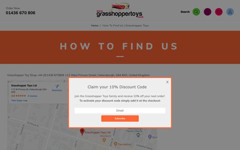 Screenshot of Maps & Directions Page grasshoppertoys.co.uk - How To Find Us   Grasshopper Toys - captured Nov. 11, 2018