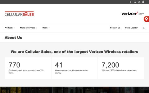 Screenshot of About Page cellularsales.com - About Us - Cellular Sales - Verizon authorized retailer - captured Jan. 9, 2020