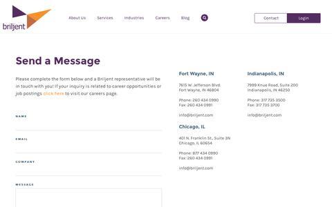 Screenshot of Contact Page briljent.com - Contact - Briljent - captured Aug. 4, 2018