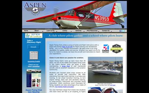 Screenshot of Home Page aspenflyingclub.com - Aspen Flying Club - Flight Training and Airplane Rental - captured Sept. 30, 2014