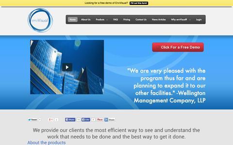 Screenshot of Home Page envvisual.com - envVisual. Facility management for the digital age. - captured Sept. 26, 2014