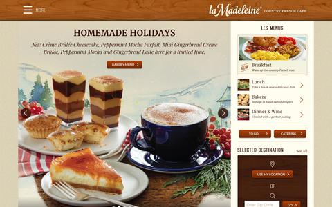 Screenshot of Home Page lamadeleine.com - Country French Caf� - La Madeleine - captured Dec. 5, 2015