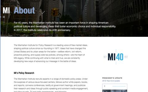 Screenshot of About Page manhattan-institute.org - About | Manhattan Institute - captured March 26, 2017