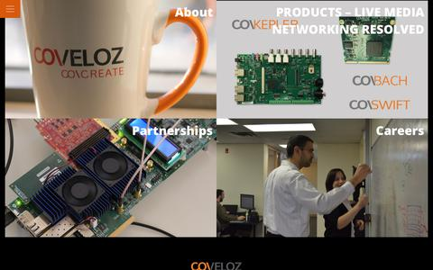 Screenshot of Home Page coveloz.com - COVELOZ - Embedded Media Networking Technology Solutions - COVELOZ - captured July 22, 2018