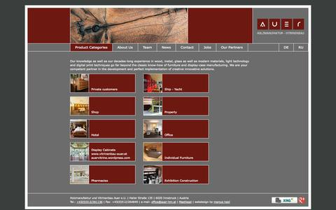 Screenshot of Home Page auer-hm.at - Auer carpentry - joinery, project management - captured Oct. 3, 2014