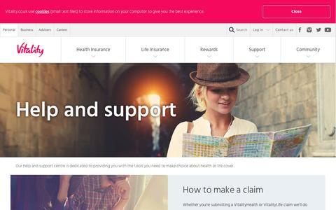 Screenshot of Support Page vitality.co.uk - Advice, Tools and Glossary - Help and Support - Vitality - captured April 29, 2017
