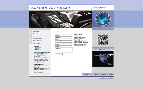 Screenshot of Contact Page wayneblack.com - Florida Technical Surveillance - Wayne Black - Business - Banks - captured Oct. 7, 2014