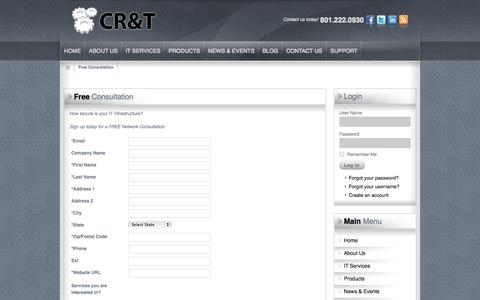 Screenshot of Signup Page cr-t.com - Free Consultation | Salt Lake City, Northern Utah | CR&T Calculated Research & Technology - captured Oct. 28, 2014