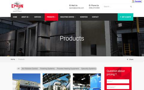 Screenshot of Products Page epconlp.com - Products - Epcon Industrial Systems, LP - captured May 19, 2018