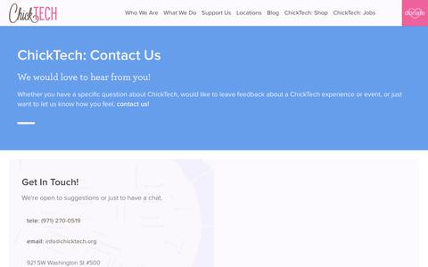 Screenshot of Contact Page chicktech.org - ChickTech: Contact Us - captured July 17, 2018