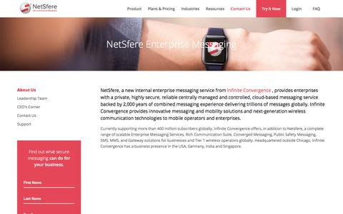 Screenshot of About Page netsfere.com - The Leading Internal Enterprise Messaging Service - Secure, Encrypted Text Messaging from NetSfere - captured July 8, 2018