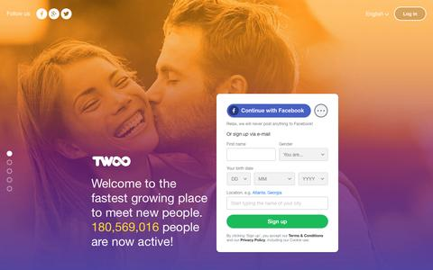 Screenshot of Home Page twoo.com - Twoo - Meet New People - captured Aug. 13, 2016