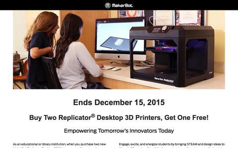 Screenshot of Landing Page makerbot.com - Buy 2 Get 1 - MakerBot Desktop 3D Printers - captured Aug. 20, 2016