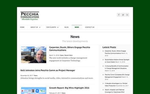 Screenshot of Press Page pecchiacomm.com - News | Pecchia Communications | Youngstown, Ohio - captured Sept. 27, 2018