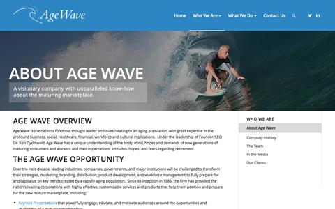Screenshot of About Page agewave.com - About Age Wave – Age Wave - captured July 25, 2016