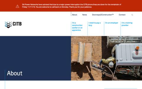 Screenshot of About Page citb.org.au - About the Construction Industry Training Board | CITB - captured Nov. 11, 2016