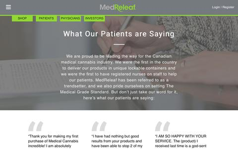 Screenshot of Testimonials Page medreleaf.com - Testimonials | MedReleaf - captured Oct. 18, 2017