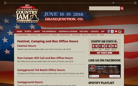 Screenshot of Hours Page countryjam.com - Festival, Camping and Box Office Hours   Country Jam - captured May 22, 2016